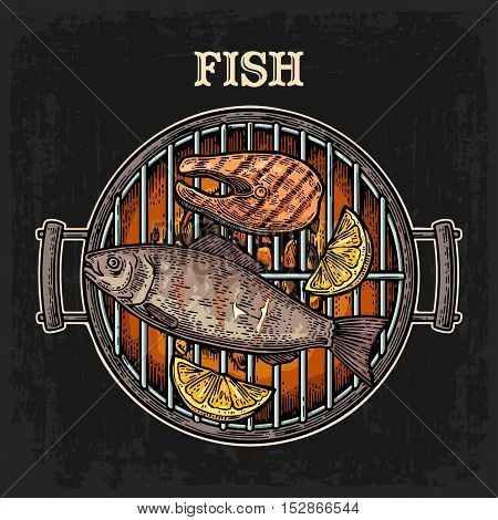 Barbecue grill top view with charcoal fish steak and lemon. Vintage color vector engraving illustration. Isolated on dark background.