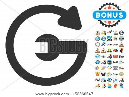 Repeat Service icon with bonus 2017 new year pictograph collection. Vector illustration style is flat iconic symbols, modern colors, rounded edges.