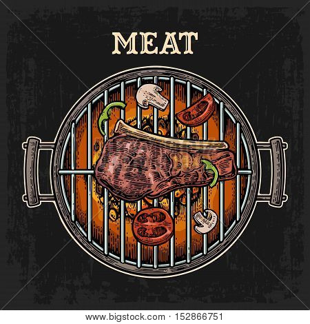 Barbecue grill top view with charcoal mushroom tomato pepper beef steak and shashlik. Lettered text MEAT. Vintage color vector engraving illustration. Isolated on dark background. For menu