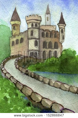watercolor drawing of Castle in the Summer