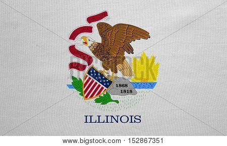 Flag of the US state of Illinois. American patriotic element. USA banner. United States of America symbol. Illinoisan official flag real detailed fabric texture illustration. Accurate size colors