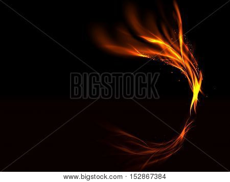 Abstract glowing lines of fire flashes and the reflected and stars on a black background, vector illustration