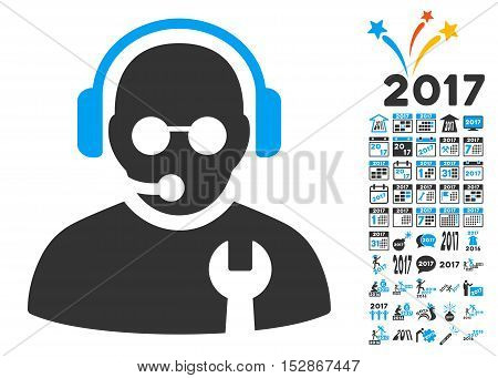Service Operator pictograph with bonus 2017 new year pictograph collection. Vector illustration style is flat iconic symbols, modern colors, rounded edges.