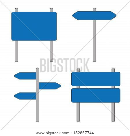 Blue Road Sign Set on White Background