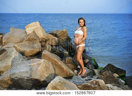 Beautiful Tender Pregnant Woman Stand On The Sea Shore