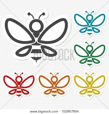 Multicolored paper stickers - Bee icon on gray background