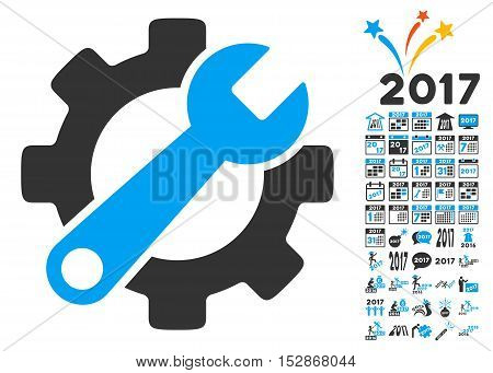 Service Tools icon with bonus 2017 new year pictograms. Vector illustration style is flat iconic symbols, modern colors, rounded edges.