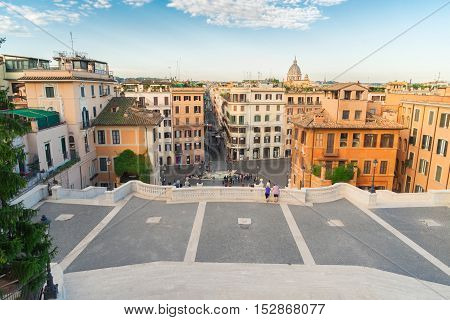 Spanish Steps and Rome cityscape in Italy