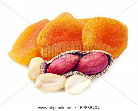 Dried apricots and peanuts on white background