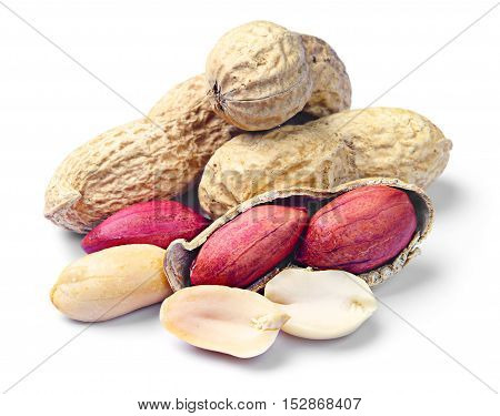 Peanuts close up on a white background