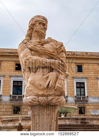 Sculpture on the piazza Pretoria is one of the Central squares of Palermo Sicily Italy.