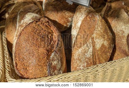 Dark bread for sale at farmers market