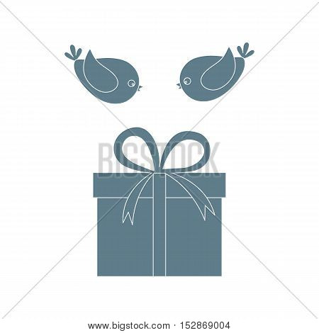 Vector Illustration Of Gift Box And A Flying Birds To Her.