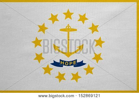 Flag of the US state of Rhode Island. American patriotic element. USA banner. United States of America symbol. Rhode Islander official flag detailed fabric texture illustration. Accurate size color