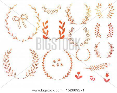 Collection of hand drawn doodle design elements with watercolor texture isolated on white background. Set of autumn handdrawn borders laurel wreaths floral dividers ribbon. Vector illustration.