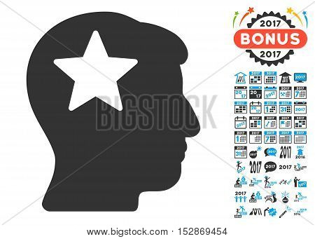 Star Head pictograph with bonus 2017 new year graphic icons. Vector illustration style is flat iconic symbols, modern colors, rounded edges.