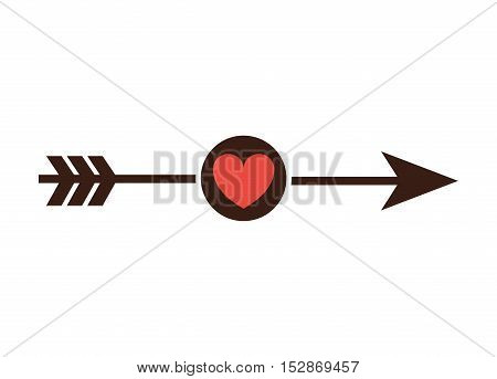 black arrow with red heart icon over black circle and white background. vector illustration