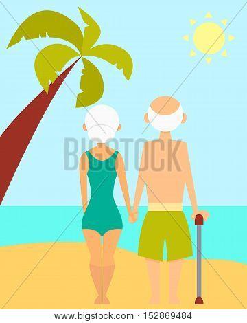 Happy retirement. Loving couple grandparents on the beach. Vector illustration