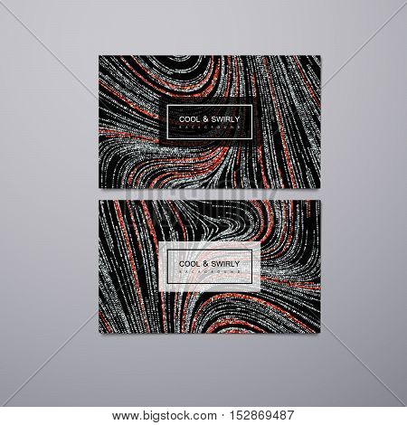 Greeting, invitation or business cards design template with swirled glittering stripes. Vector illustration of silver and red ruby glitter background. Marble or acrylic texture imitation.