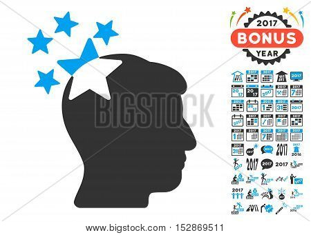 Stars Hit Head pictograph with bonus 2017 new year pictures. Vector illustration style is flat iconic symbols, modern colors, rounded edges.
