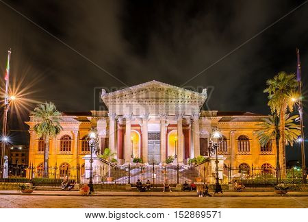 PALERMO ITALY - SEPTEMBER 6 2015: The Teatro Massimo Vittorio Emanuele is an opera house and opera company located on the Piazza Verdi in Palermo Sicily. Italy