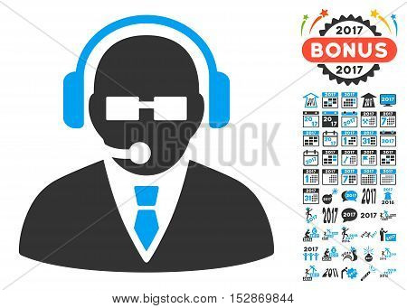 Support Manager pictograph with bonus 2017 new year pictures. Vector illustration style is flat iconic symbols, modern colors, rounded edges.