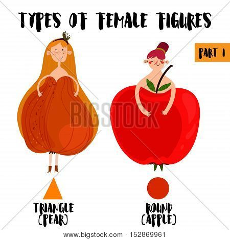 Types Of Female Figures In Cartoon Design.part I:triangle / Pear, Apple / Rounded.female Body Types.
