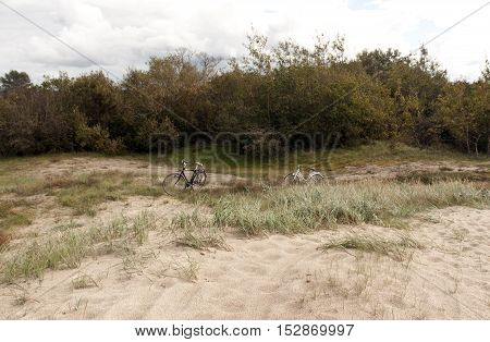 Two bicycles in dunes. Natural seasonal background
