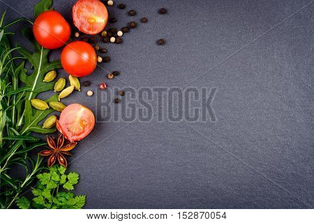 Fresh Herbs And Dried Spices Background