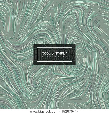 Abstract artistic curl background with swirled stripes. Vector vintage illustration of swirled and curled stripes background. Marble or acrylic texture imitation. Abstract psychedelic background