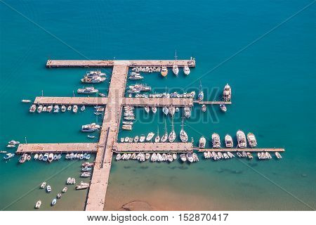 CEFALU ITALY - SEPTEMBER 11 2015: Aerial view of marina for yachts and boats.
