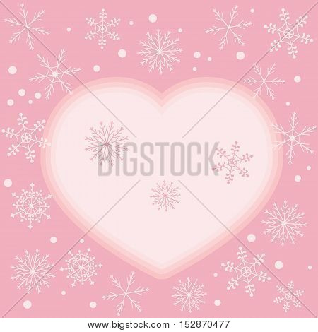 Winter Illustration With Variety Of Snowflakes And Heart.