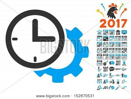 Time Setup Gear pictograph with bonus 2017 new year pictograms. Vector illustration style is flat iconic symbols, modern colors, rounded edges.