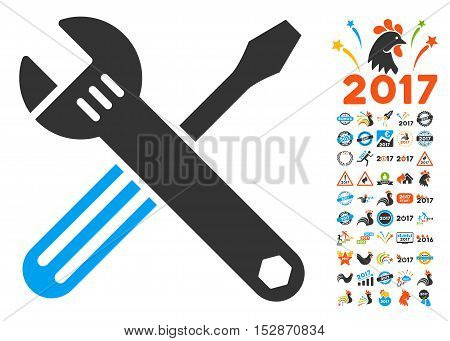 Tools pictograph with bonus 2017 new year clip art. Vector illustration style is flat iconic symbols, modern colors, rounded edges.