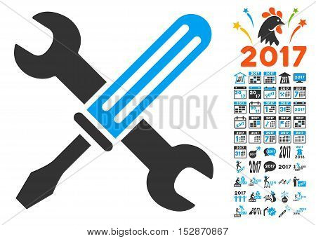 Tools icon with bonus 2017 new year pictures. Vector illustration style is flat iconic symbols, modern colors, rounded edges.
