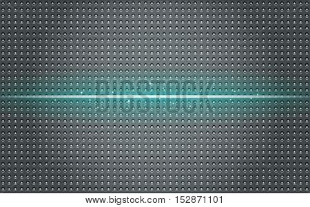 Dark abstract background with the blue glow effect. Stamped sheet metal.