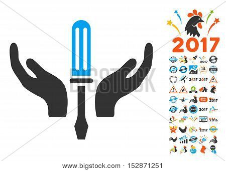 Tuning Screwdriver Maintenance pictograph with bonus 2017 new year design elements. Vector illustration style is flat iconic symbols, modern colors, rounded edges.