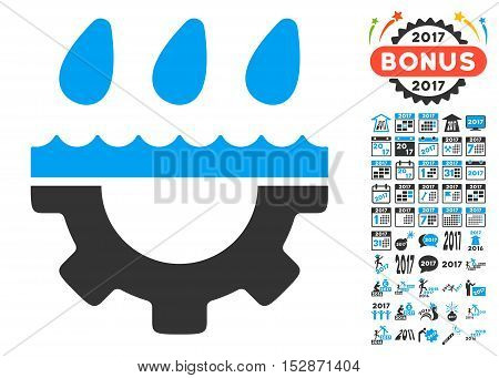 Water Gear Drops icon with bonus 2017 new year graphic icons. Vector illustration style is flat iconic symbols, modern colors, rounded edges.