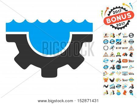 Water Service Gear pictograph with bonus 2017 new year pictograms. Vector illustration style is flat iconic symbols, modern colors, rounded edges.