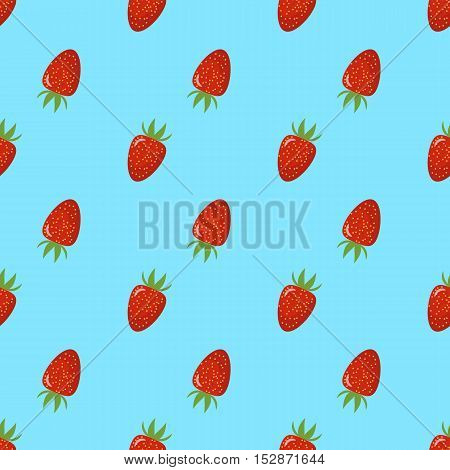 Bright seamless pattern with a strawberry. turquoise background