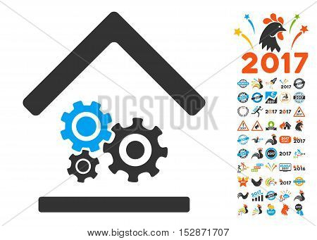 Workshop icon with bonus 2017 new year symbols. Vector illustration style is flat iconic symbols, modern colors, rounded edges.