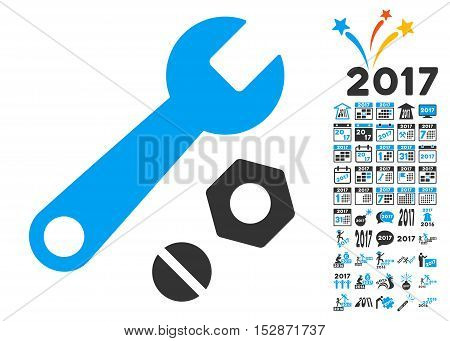 Wrench and Nuts pictograph with bonus 2017 new year symbols. Vector illustration style is flat iconic symbols, modern colors, rounded edges.