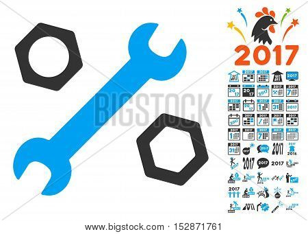 Wrench and Nuts pictograph with bonus 2017 new year graphic icons. Vector illustration style is flat iconic symbols, modern colors, rounded edges.