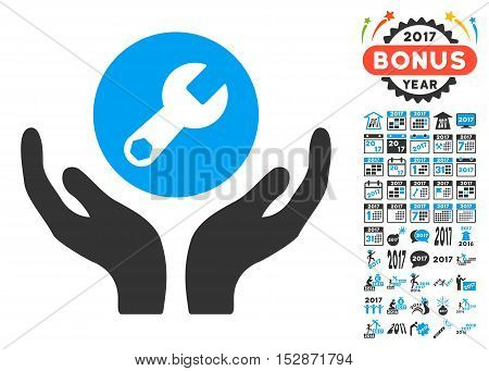 Wrench Maintenance pictograph with bonus 2017 new year design elements. Vector illustration style is flat iconic symbols, modern colors, rounded edges.