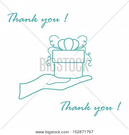 Cute Picture With Hand Holding Out A Gift And An Inscription: Thank You. Made In Line Style.