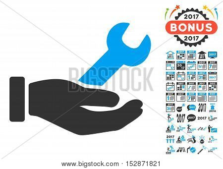 Wrench Service Hand pictograph with bonus 2017 new year graphic icons. Vector illustration style is flat iconic symbols, modern colors, rounded edges.