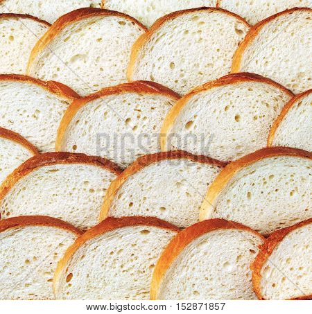 Pieces of bread background texture, top view