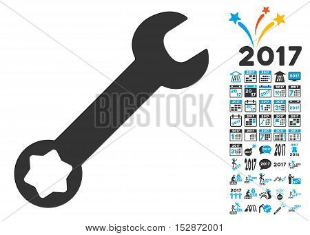 Wrench pictograph with bonus 2017 new year pictograms. Vector illustration style is flat iconic symbols, modern colors, rounded edges.
