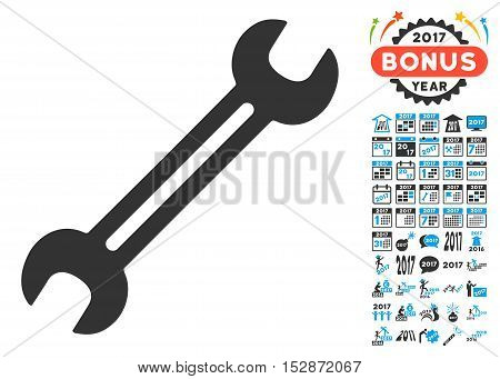Wrench pictograph with bonus 2017 new year icon set. Vector illustration style is flat iconic symbols, modern colors, rounded edges.
