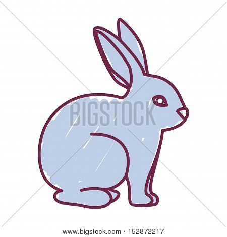 blue Rabbit icon. Animal cartoon and easter theme. Isolated design. Vector illustration